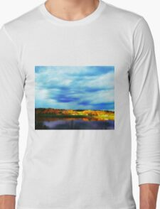 Ohio River Serenity ~ Morning Coffee On The Deck Long Sleeve T-Shirt