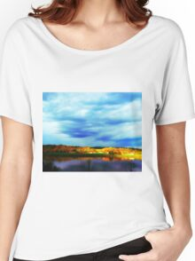 Ohio River Serenity ~ Morning Coffee On The Deck Women's Relaxed Fit T-Shirt