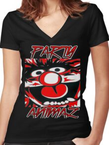 Party Animal(Muppets) Women's Fitted V-Neck T-Shirt