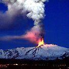 Aurora under the snowy erupting volcano. by Turi Caggegi