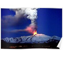 Aurora under the snowy erupting volcano. Poster