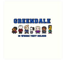 8-bit Greendale is Where They Belong (College Text) Art Print