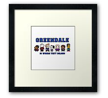8-bit Greendale is Where They Belong (College Text) Framed Print