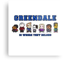 8-bit Greendale is Where They Belong (College Text) Metal Print
