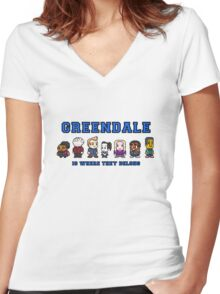 8-bit Greendale is Where They Belong (College Text) Women's Fitted V-Neck T-Shirt