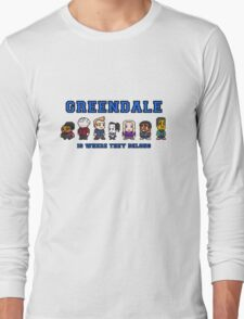 8-bit Greendale is Where They Belong (College Text) Long Sleeve T-Shirt
