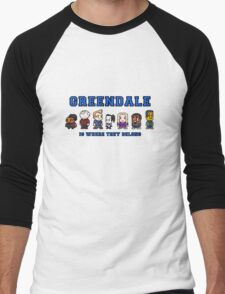 8-bit Greendale is Where They Belong (College Text) Men's Baseball ¾ T-Shirt