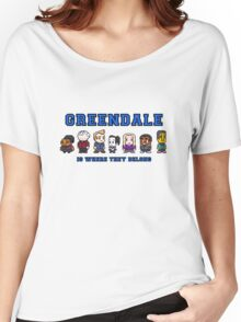 8-bit Greendale is Where They Belong (College Text) Women's Relaxed Fit T-Shirt