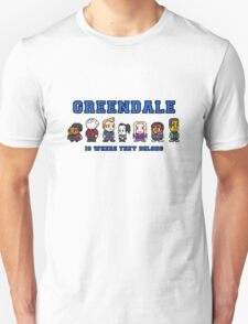 8-bit Greendale is Where They Belong (College Text) T-Shirt
