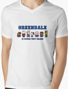 8-bit Greendale is Where They Belong (College Text) Mens V-Neck T-Shirt