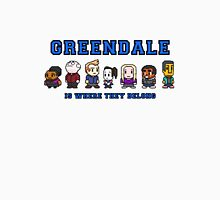 8-bit Greendale is Where They Belong (College Text) Unisex T-Shirt