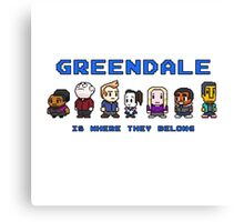 8-bit Greendale is Where They Belong (Video Game Text) Canvas Print