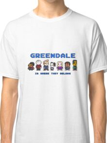 8-bit Greendale is Where They Belong (Video Game Text) Classic T-Shirt
