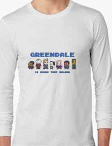 8-bit Greendale is Where They Belong (Video Game Text) Long Sleeve T-Shirt