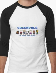 8-bit Greendale is Where They Belong (Video Game Text) Men's Baseball ¾ T-Shirt