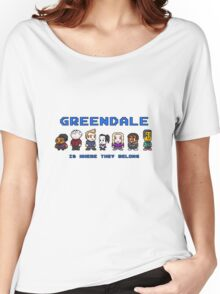 8-bit Greendale is Where They Belong (Video Game Text) Women's Relaxed Fit T-Shirt