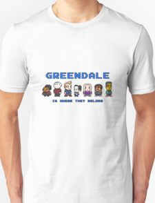 8-bit Greendale is Where They Belong (Video Game Text) T-Shirt