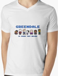 8-bit Greendale is Where They Belong (Video Game Text) Mens V-Neck T-Shirt
