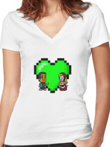 Love in 8-bit: Abed and Hilda (style A) Women's Fitted V-Neck T-Shirt