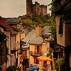 Blue Car - Najac France by Rob Lewis