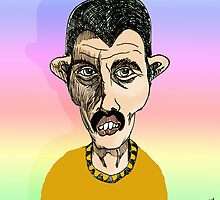 Freddie Mercury Cartoon Caricature by Grant Wilson