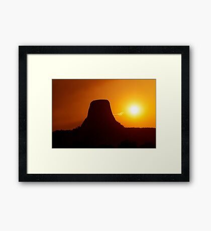 Sunset over Devils Tower Framed Print