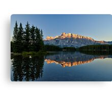 Mt Rundle with trees from Two Jack Lake Canvas Print