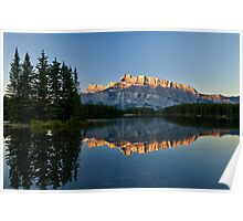 Mt Rundle with trees from Two Jack Lake Poster