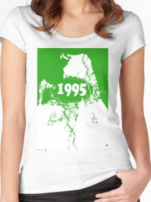 1995 Green, white retro vintage T-shirt Women's Fitted Scoop T-Shirt