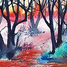 Inktense Trees by Val Spayne