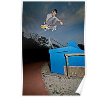 Skateboarder flying Poster