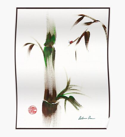 Little Lady - Zen bamboo ladybug painting Poster