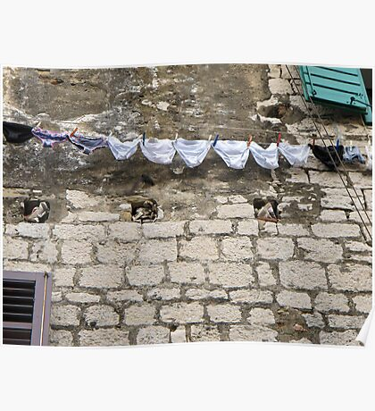 pants drying on a line Poster