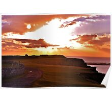 Sunset at Worms Head, Gower Poster