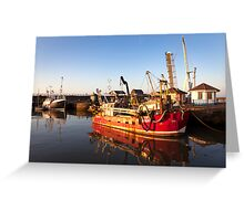 Red Fishing Vessel - Maryport Harbour Greeting Card