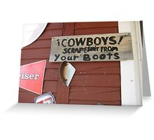 Cowboy Boots Sign--WY Greeting Card