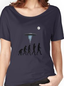 Human evolution alien intervention annunaki light background Women's Relaxed Fit T-Shirt
