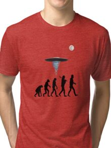 Human evolution alien intervention annunaki light background Tri-blend T-Shirt