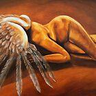 Fallen - fallen nude angel emotive oil painting by Jennie Rosenbaum