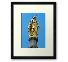 Virgin Mary gold statue Framed Print