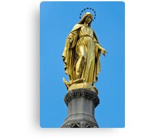 Virgin Mary gold statue Canvas Print