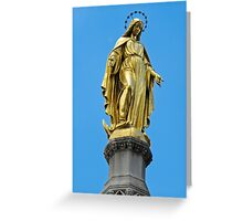 Virgin Mary gold statue Greeting Card