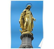 Virgin Mary gold statue Poster