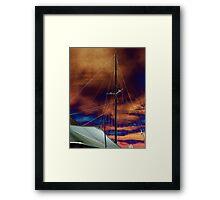 A sail boat at dusk. Framed Print