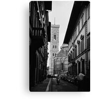 Streets of Florence in black & white Canvas Print