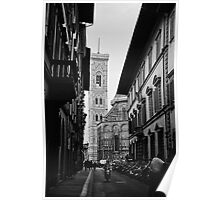 Streets of Florence in black & white Poster