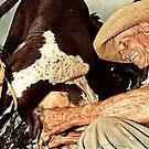 Cuban farmer milking his cow by Henny Boogert