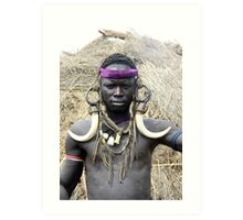 A Mursi tribesman warrior with warthog fangs earring decoration Art Print