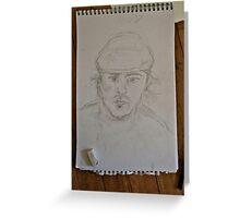 Self portrait sketch in beret Greeting Card