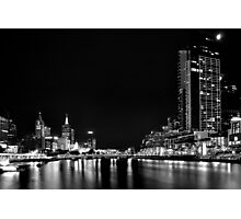 B&W Melbourne at Night 0346 Photographic Print